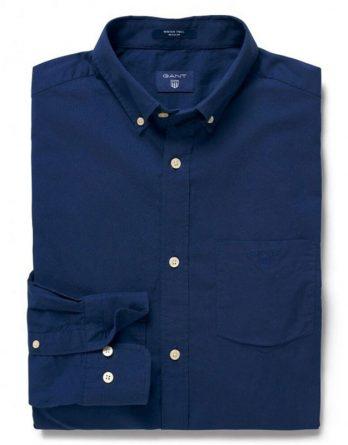 αντρικο μπλε μονοχρωμο πουκαμισο gant