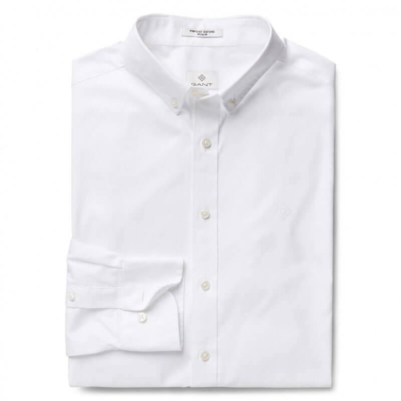 Αντρικό Πουκάμισο Pinpoint Oxford Gant 303000 110 Άσπρο 79a0ab966a2