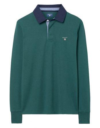 μακρυμανικη μπλουζα με γιακα gant πρασινη