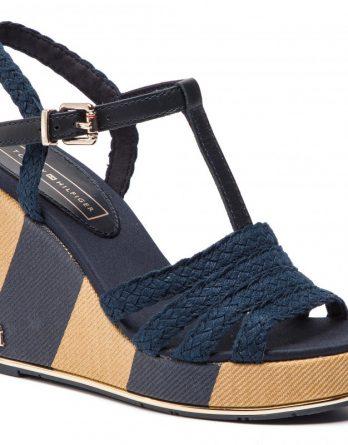 e4f3a77ef07 Γυναικεία Παπούτσια Tommy Hilfiger Printed Wedge Sandal FW0FW03934 403 Μπλε