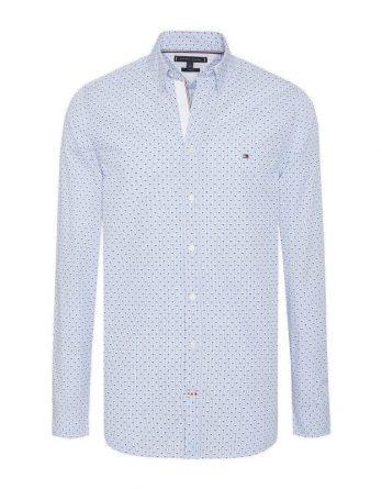 adeeaec95c0f Ανδρικό Πουκάμισο TOMMY HILFIGER Slim Micro Print Shirt MW0MW09902 902 Μπλέ