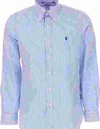 ανδρικό πουκάμισο ralph lauren ρίγα άσπρο μπλε
