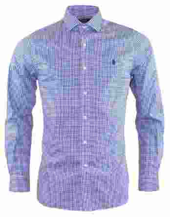 ανδρικό πουκάμισο ralph lauren καρό άσπρο μπλε
