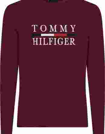 ανδρικό t-shirt tommy μακρύ μανίκι μπορντό