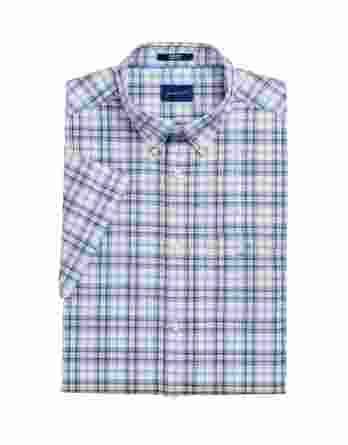 ανδρικό πουκάμισο καρό gant κοντό μανίκι μπεζ