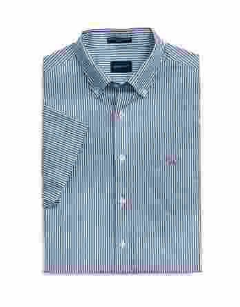 ανδρικό πουκάμισο gant κοντό μανίκι ρίγα μπλε