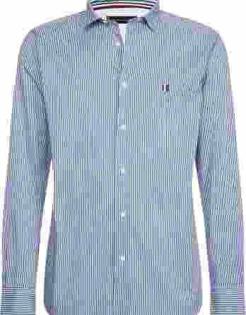 ανδρικό πουκάμισο tommy ρίγα άσπρο μπλε