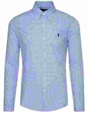 ανδρικό πουκάμισο ralph lauren καρό μπλε άσπρο