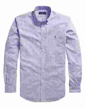 ανδρικό πουκάμισο ralph lauren καρό άσπρο μοβ